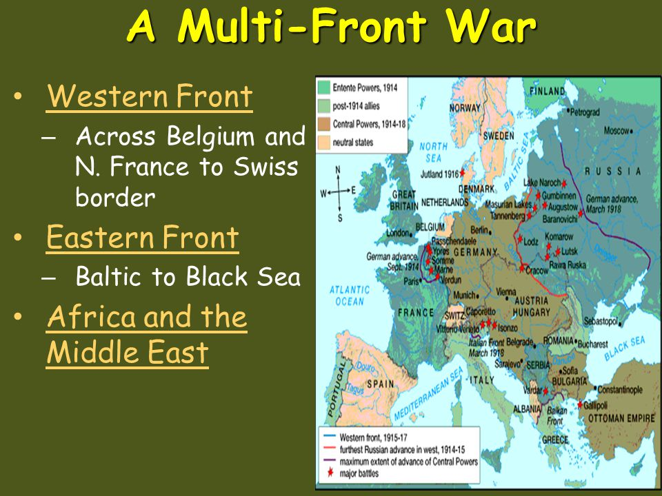 The Allied PowersThe Central Powers Germany Austria Hungary Ottoman Empire Russi a Great Britain France United States U.S. joined the war in 1917