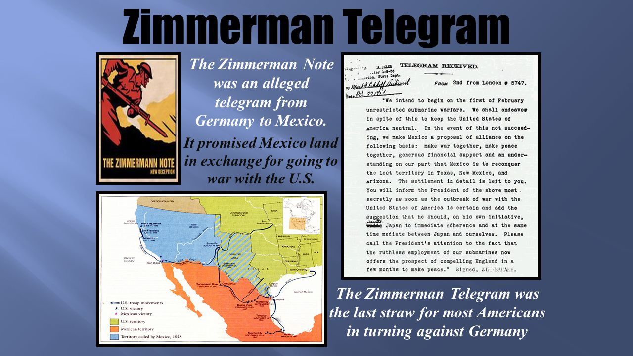 Zimmerman Telegram The Zimmerman Note was an alleged telegram from Germany to Mexico.
