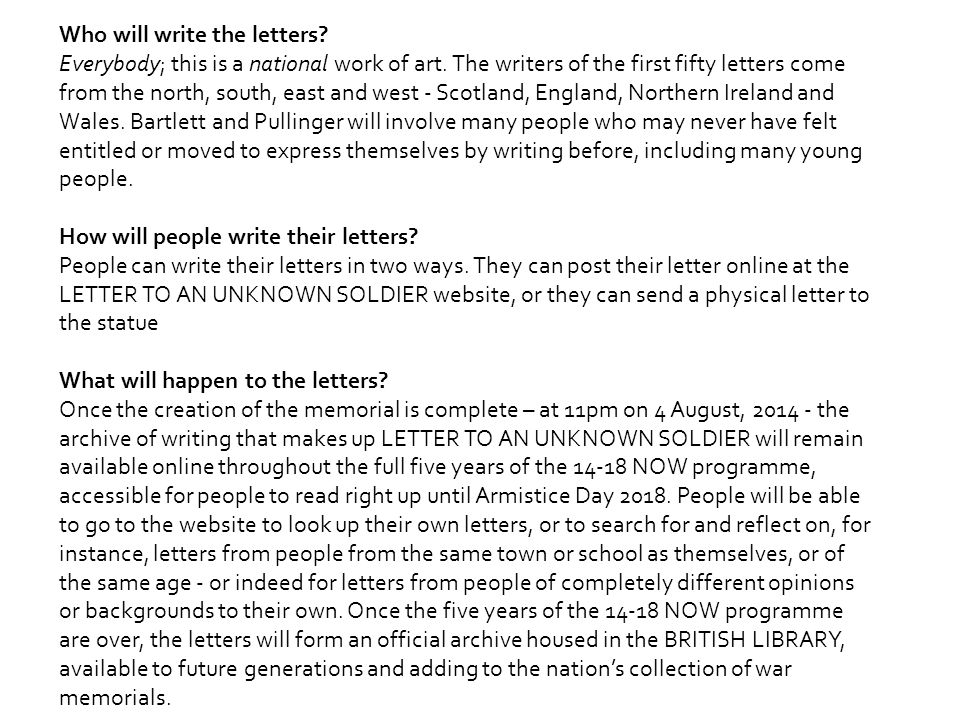 Who will write the letters. Everybody; this is a national work of art.