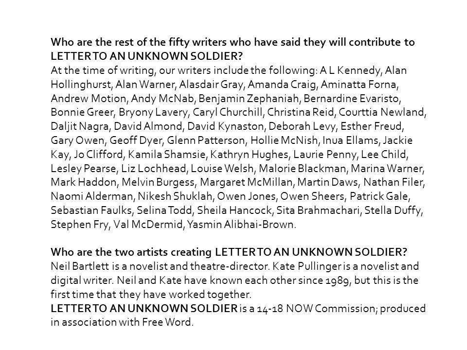 Who are the rest of the fifty writers who have said they will contribute to LETTER TO AN UNKNOWN SOLDIER.