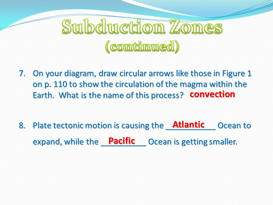 7.On your diagram, draw circular arrows like those in Figure 1 on p. 110 to show the circulation of the magma within the Earth. What is the name of th