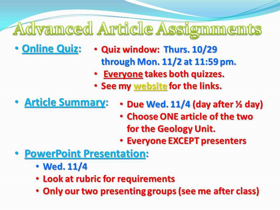 Online Quiz: Online Quiz: Article Summary: Article Summary: PowerPoint Presentation: PowerPoint Presentation: Quiz window: Thurs. 10/29 through Mon. 1