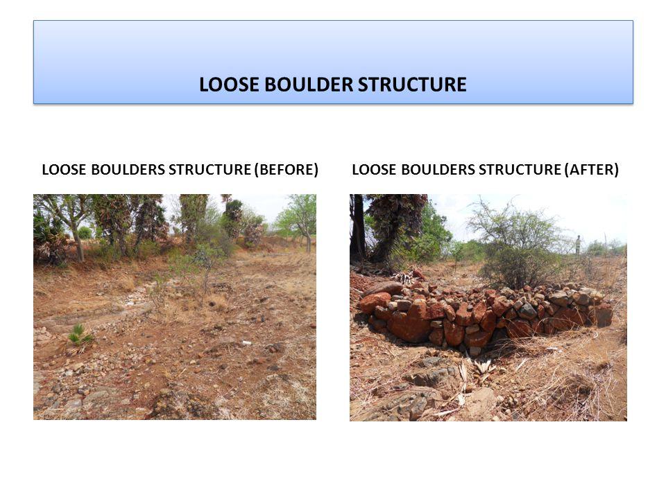 LOOSE BOULDER STRUCTURE LOOSE BOULDERS STRUCTURE (BEFORE) LOOSE BOULDERS STRUCTURE (AFTER)