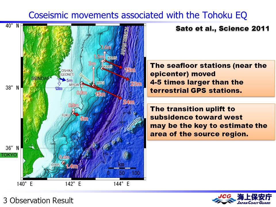 Coseismic movements associated with the Tohoku EQ 3 Observation Result The seafloor stations (near the epicenter) moved 4-5 times larger than the terr