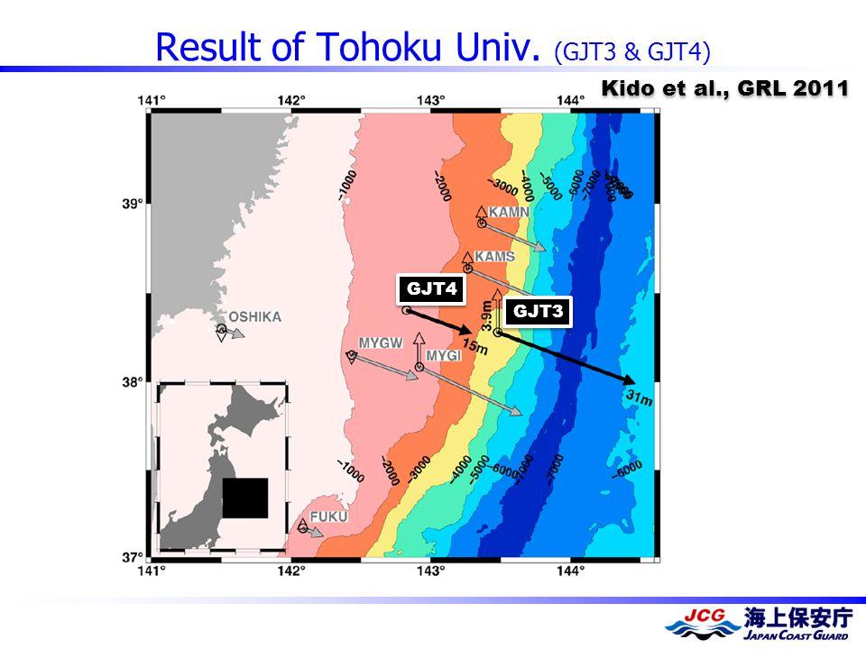 Result of Tohoku Univ. (GJT3 & GJT4) GJT4 GJT3 Kido et al., GRL 2011