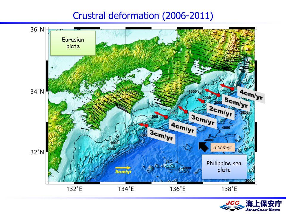 Crustral deformation (2006-2011) 5cm/yr Philippine sea plate Philippine sea plate 3-5cm/yr Eurasian plate Eurasian plate