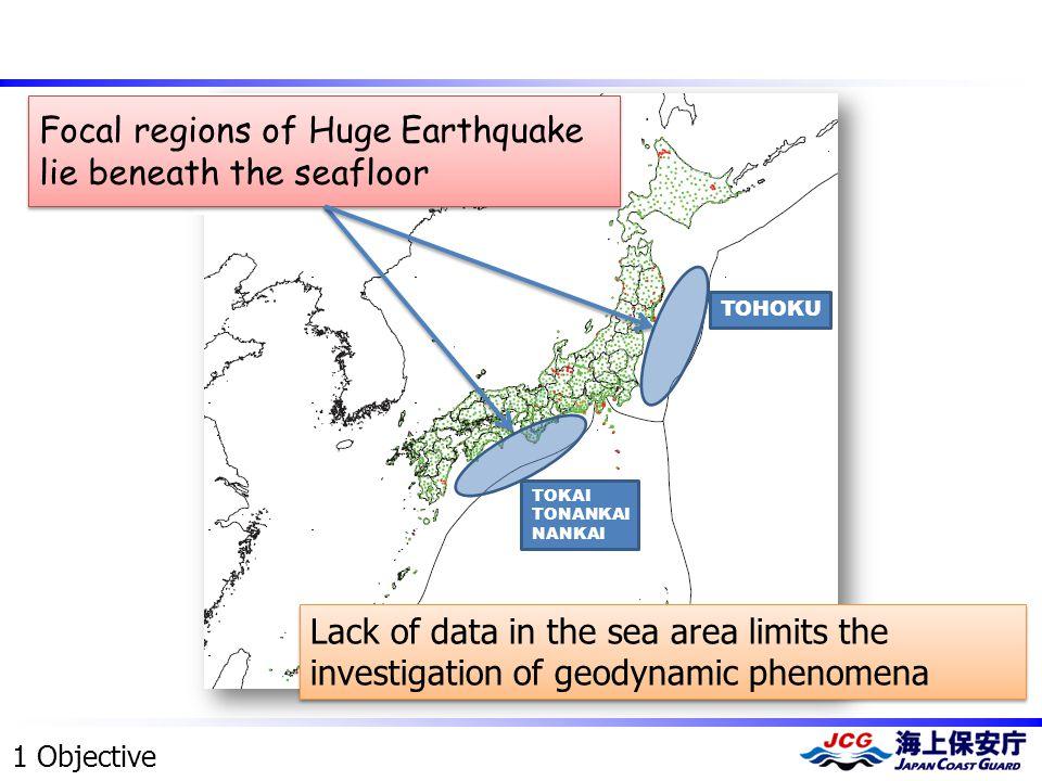 ・ MEXT ・ Universities ・ NIED ・ GSI ・ JCG ・ AIST TOHOKU TOKAI TONANKAI NANKAI Focal regions of Huge Earthquake lie beneath the seafloor Lack of data in the sea area limits the investigation of geodynamic phenomena 1 Objective