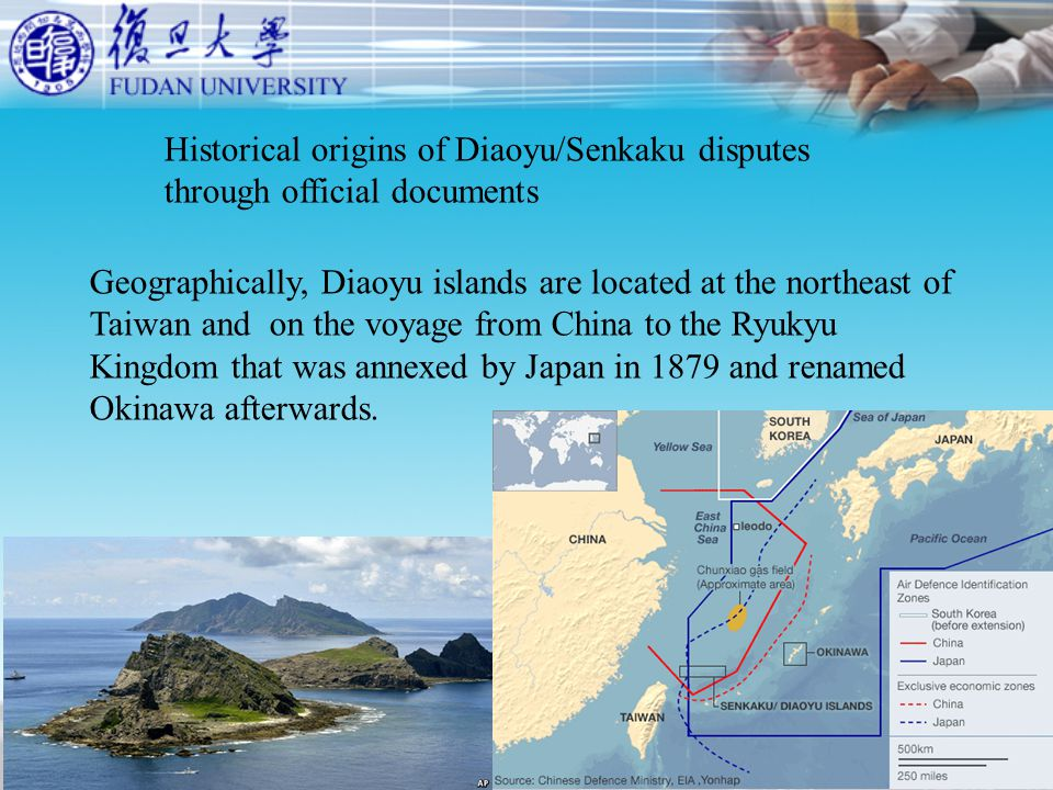 Historical origins of Diaoyu/Senkaku disputes through official documents Geographically, Diaoyu islands are located at the northeast of Taiwan and on the voyage from China to the Ryukyu Kingdom that was annexed by Japan in 1879 and renamed Okinawa afterwards.