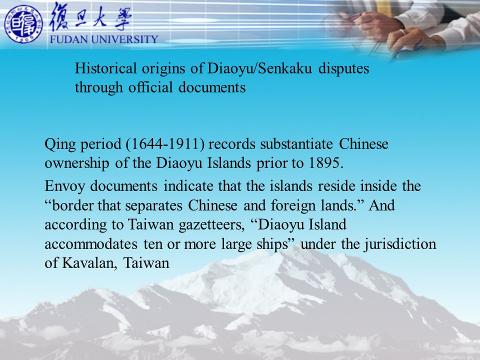 Qing period (1644-1911) records substantiate Chinese ownership of the Diaoyu Islands prior to 1895.