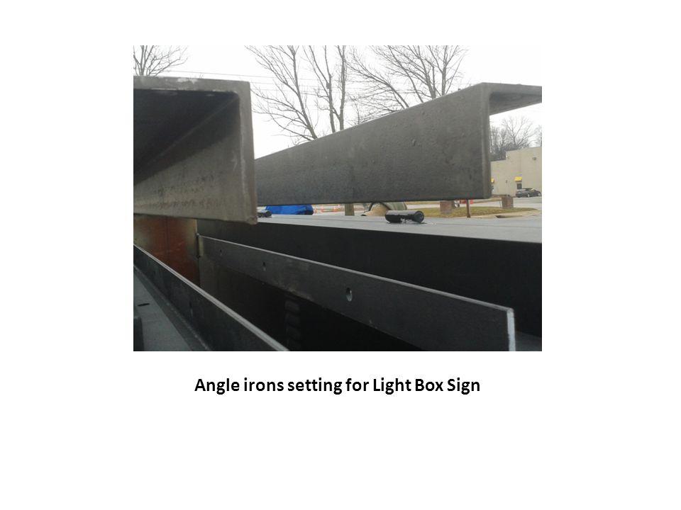 Angle irons setting for Light Box Sign