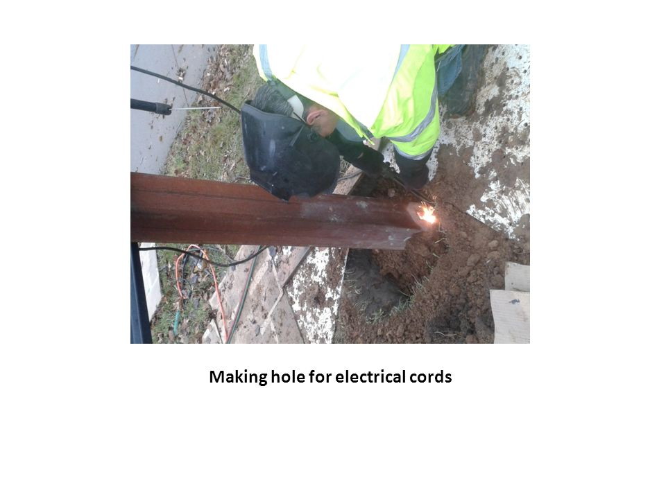 Making hole for electrical cords