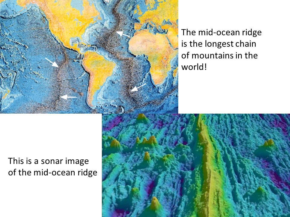 This is a sonar image of the mid-ocean ridge The mid-ocean ridge is the longest chain of mountains in the world!