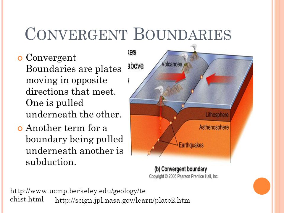 C ONVERGENT B OUNDARIES Convergent Boundaries are plates moving in opposite directions that meet.