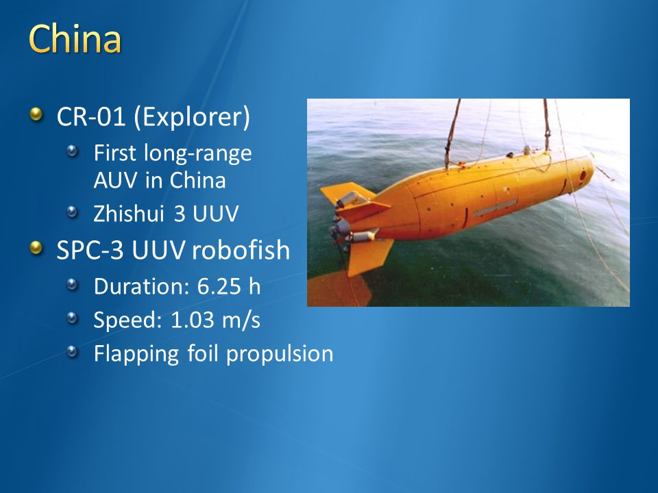 CR-01 (Explorer) First long-range AUV in China Zhishui 3 UUV SPC-3 UUV robofish Duration: 6.25 h Speed: 1.03 m/s Flapping foil propulsion