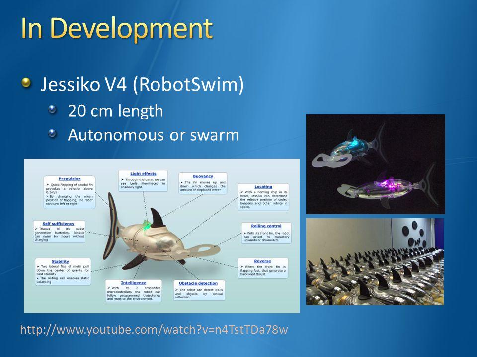 Jessiko V4 (RobotSwim) 20 cm length Autonomous or swarm http://www.youtube.com/watch?v=n4TstTDa78w