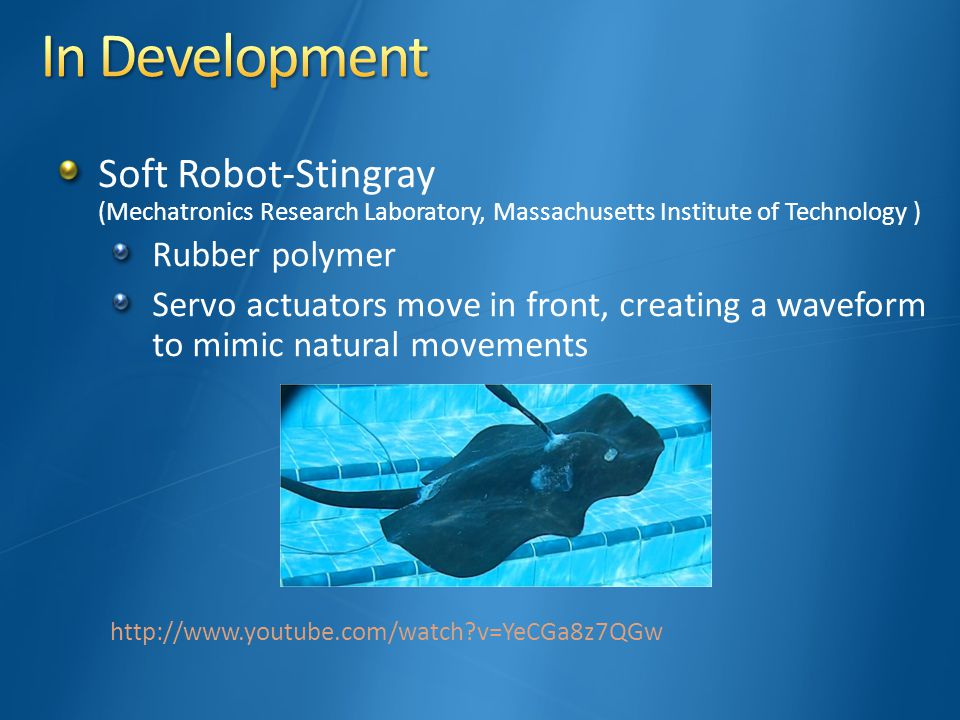 Soft Robot-Stingray (Mechatronics Research Laboratory, Massachusetts Institute of Technology ) Rubber polymer Servo actuators move in front, creating a waveform to mimic natural movements http://www.youtube.com/watch v=YeCGa8z7QGw