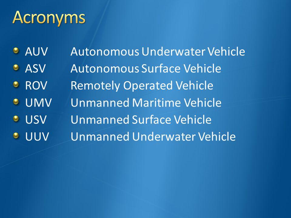 AUVAutonomous Underwater Vehicle ASVAutonomous Surface Vehicle ROV Remotely Operated Vehicle UMVUnmanned Maritime Vehicle USVUnmanned Surface Vehicle UUVUnmanned Underwater Vehicle