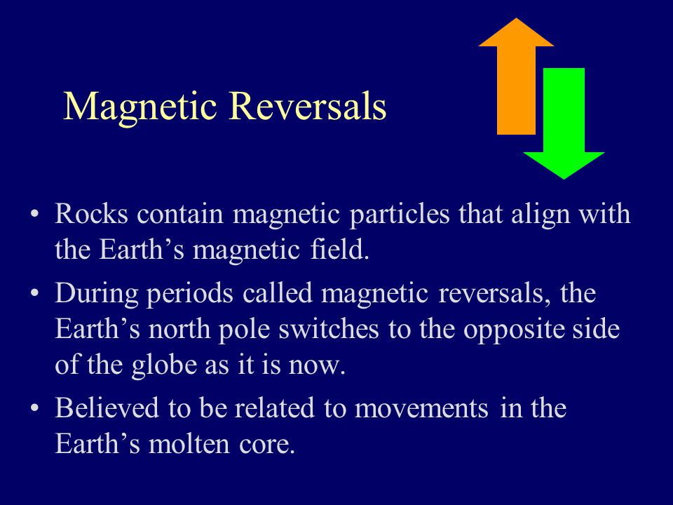 Magnetic Reversals Rocks contain magnetic particles that align with the Earth's magnetic field. During periods called magnetic reversals, the Earth's