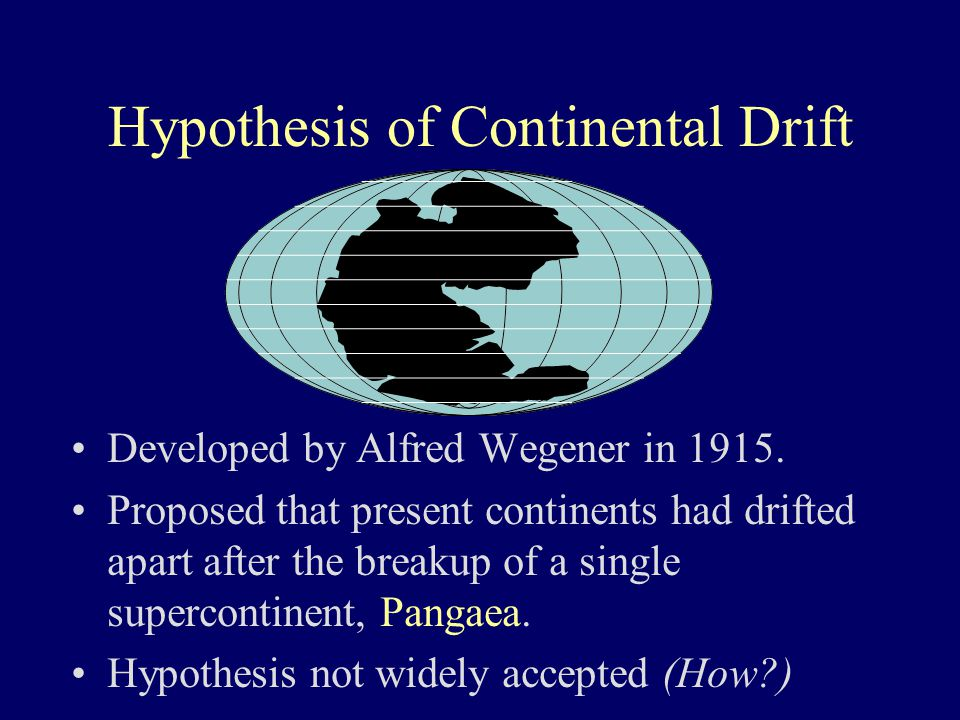 Hypothesis of Continental Drift Developed by Alfred Wegener in 1915. Proposed that present continents had drifted apart after the breakup of a single