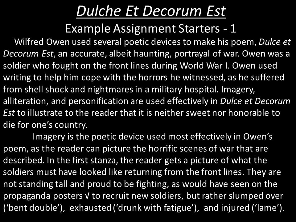 essays on dulce et decorum est by wilfred owen