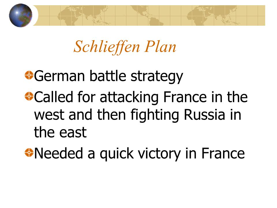 Schlieffen Plan German battle strategy Called for attacking France in the west and then fighting Russia in the east Needed a quick victory in France