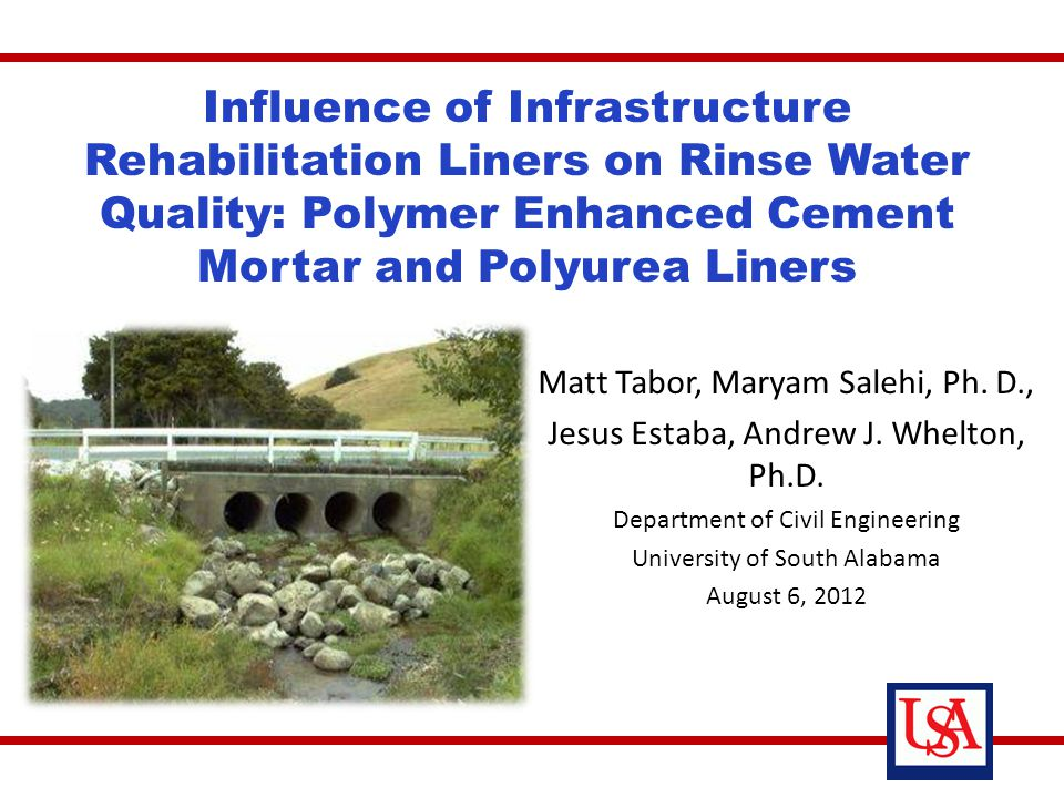 Significance of stormwater infrastructure rehabilitation Laboratory leaching testing – Objectives – Methods – Results Conclusions, Recommendations Overview