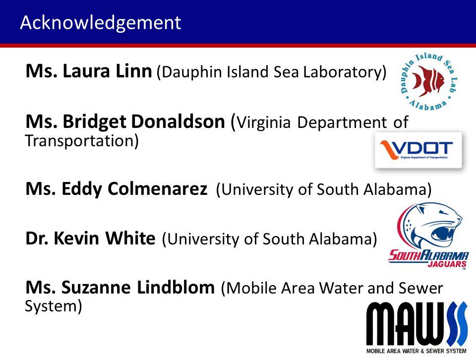 Acknowledgement Ms. Laura Linn (Dauphin Island Sea Laboratory) Ms.