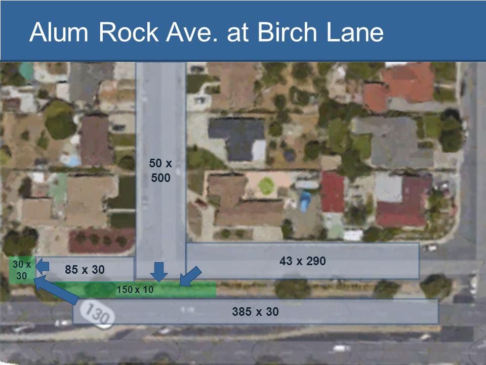 Alum Rock Ave. at Birch Lane 30 x 30 385 x 30 50 x 500 85 x 30 150 x 10 43 x 290