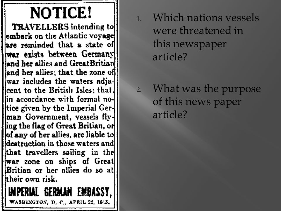 1.Which nations vessels were threatened in this newspaper article.