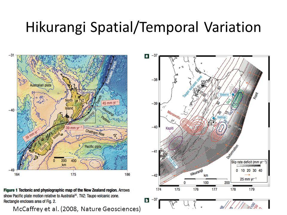 Hikurangi Spatial/Temporal Variation McCaffrey et al. (2008, Nature Geosciences)