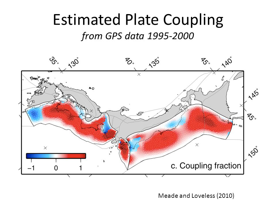 Estimated Plate Coupling from GPS data 1995-2000 Meade and Loveless (2010) Slow Slip Events
