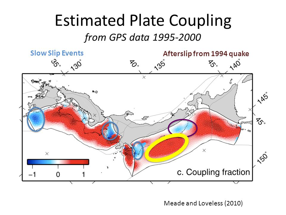 Comparison of Locked Zone to Slip Colors: Loveless and Meade (2010) interseismic model Contours: Jack Loveless' slip model contours To first order, the rupture area of the earthquake is the same as the interseismic locked zone Loveless and Meade, 3/14/11 Loveless and Meade (2011)