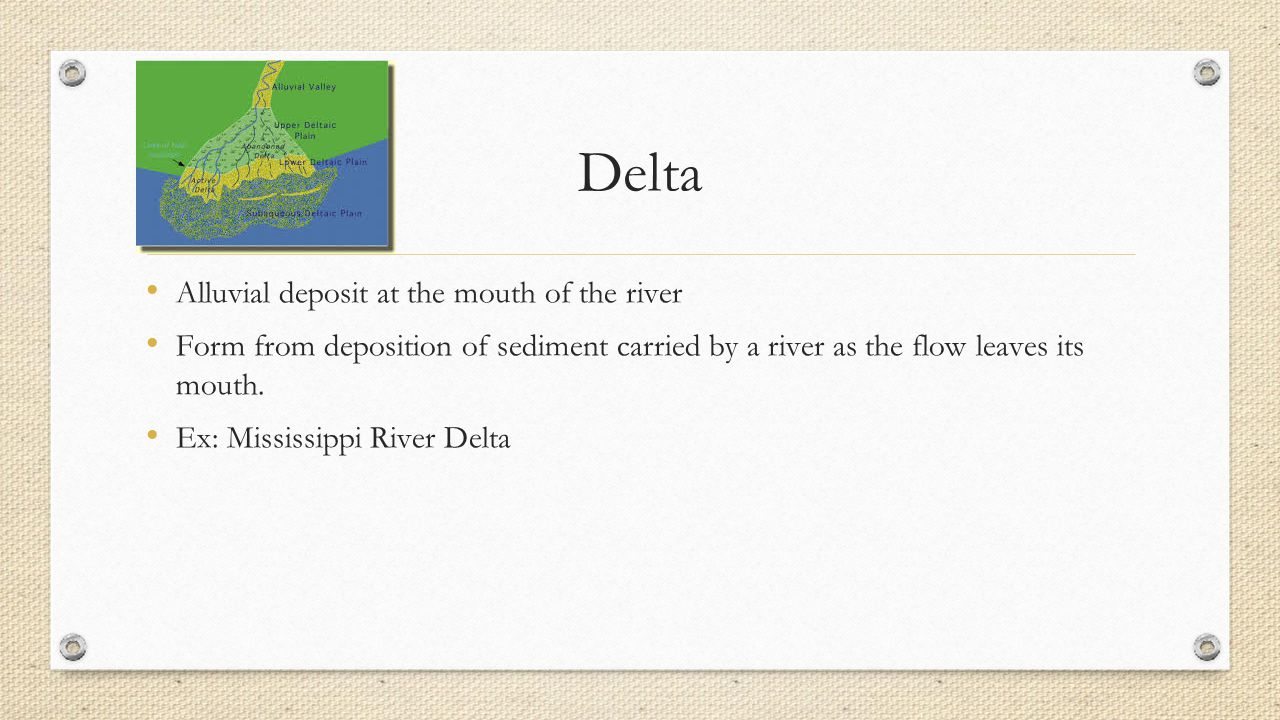 Delta Alluvial deposit at the mouth of the river Form from deposition of sediment carried by a river as the flow leaves its mouth.