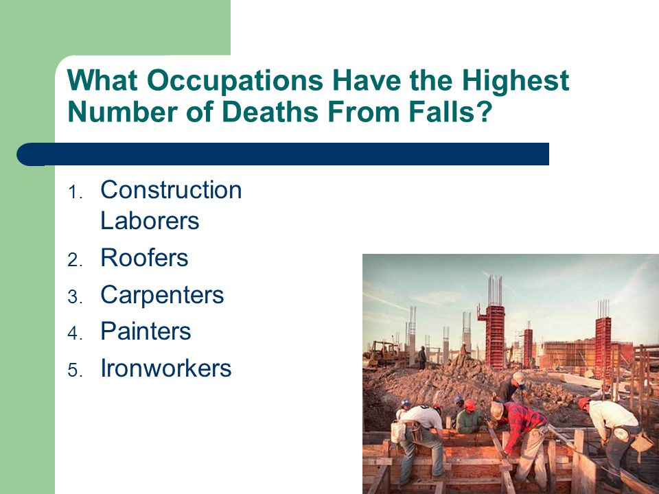 What Occupations Have the Highest Number of Deaths From Falls.