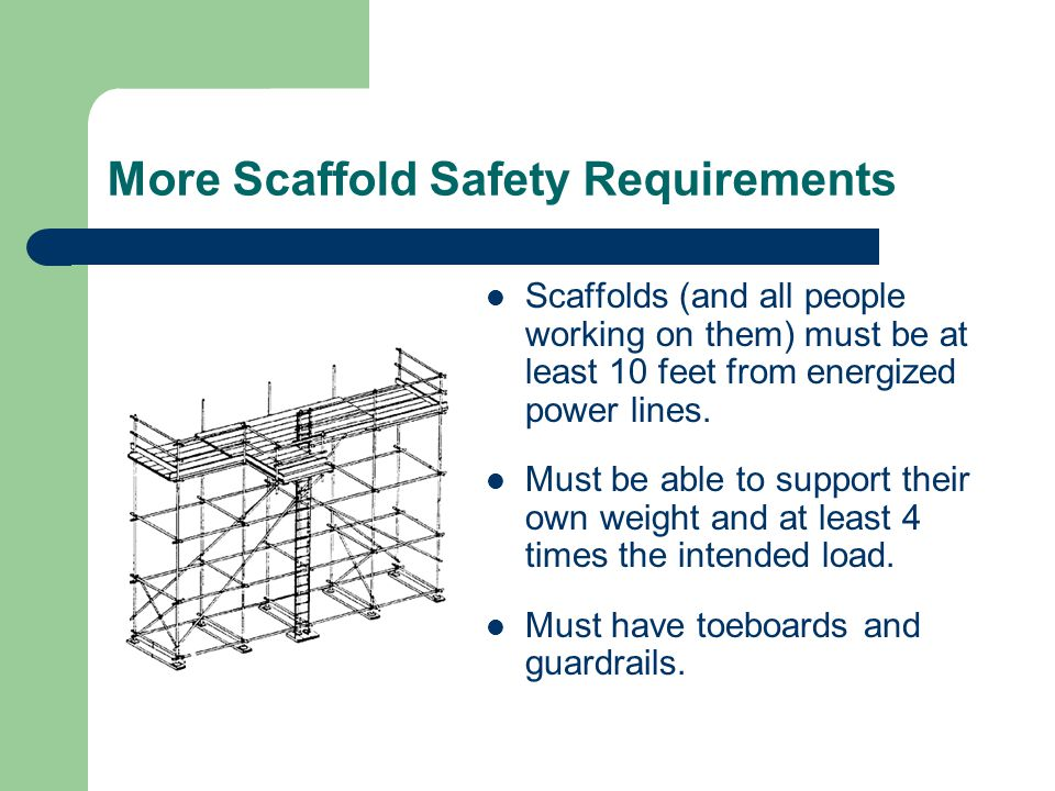 More Scaffold Safety Requirements Scaffolds (and all people working on them) must be at least 10 feet from energized power lines.