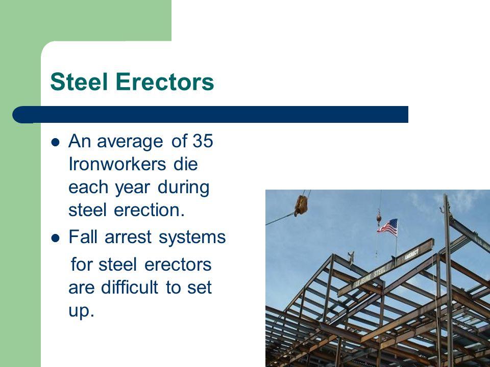 Steel Erectors An average of 35 Ironworkers die each year during steel erection.