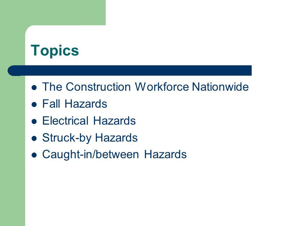 Topics The Construction Workforce Nationwide Fall Hazards Electrical Hazards Struck-by Hazards Caught-in/between Hazards
