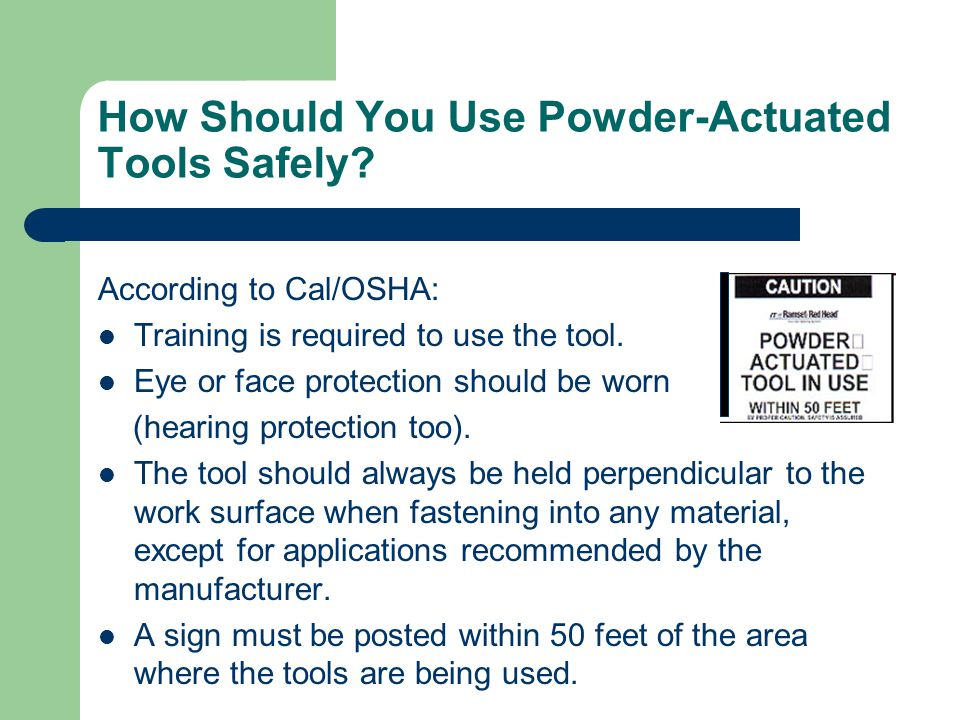 How Should You Use Powder-Actuated Tools Safely.
