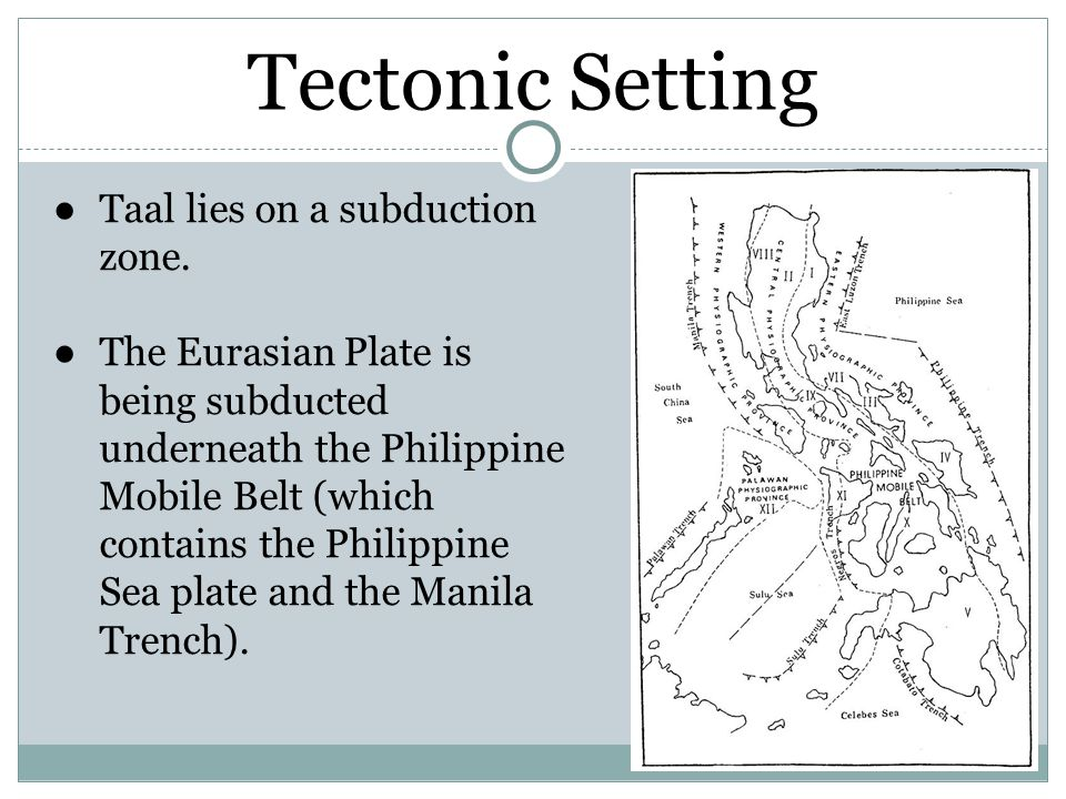 Tectonic Setting ●Taal lies on a subduction zone.