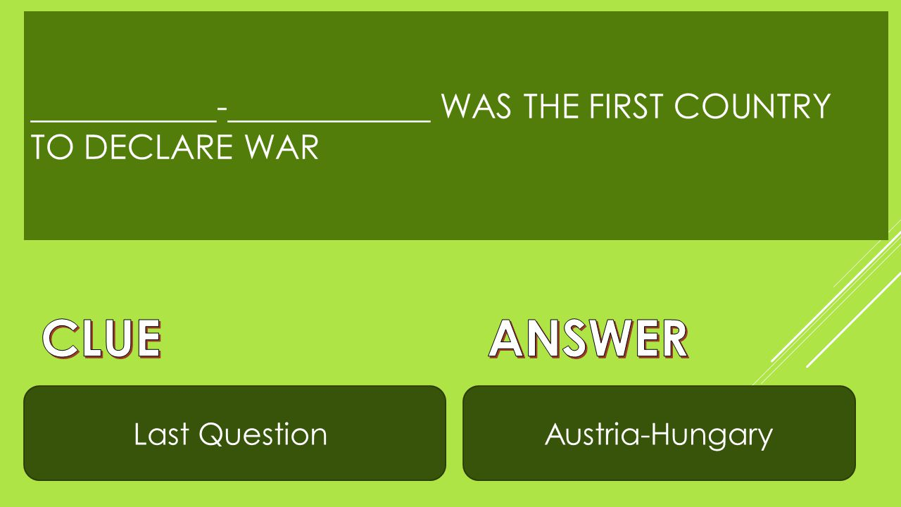 WHEN RUSSIA MOBILIZED THEIR TROOPS, WWI BECAME ______________ Can't dodgeUnavoidable