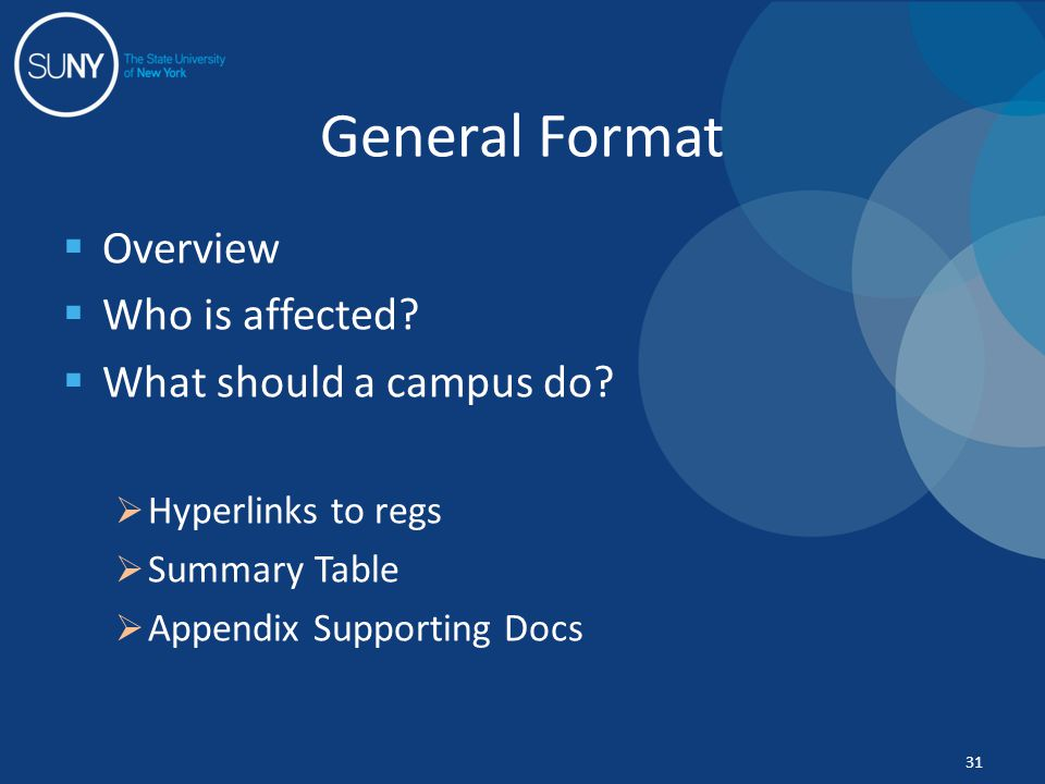  Overview  Who is affected?  What should a campus do?  Hyperlinks to regs  Summary Table  Appendix Supporting Docs General Format 31