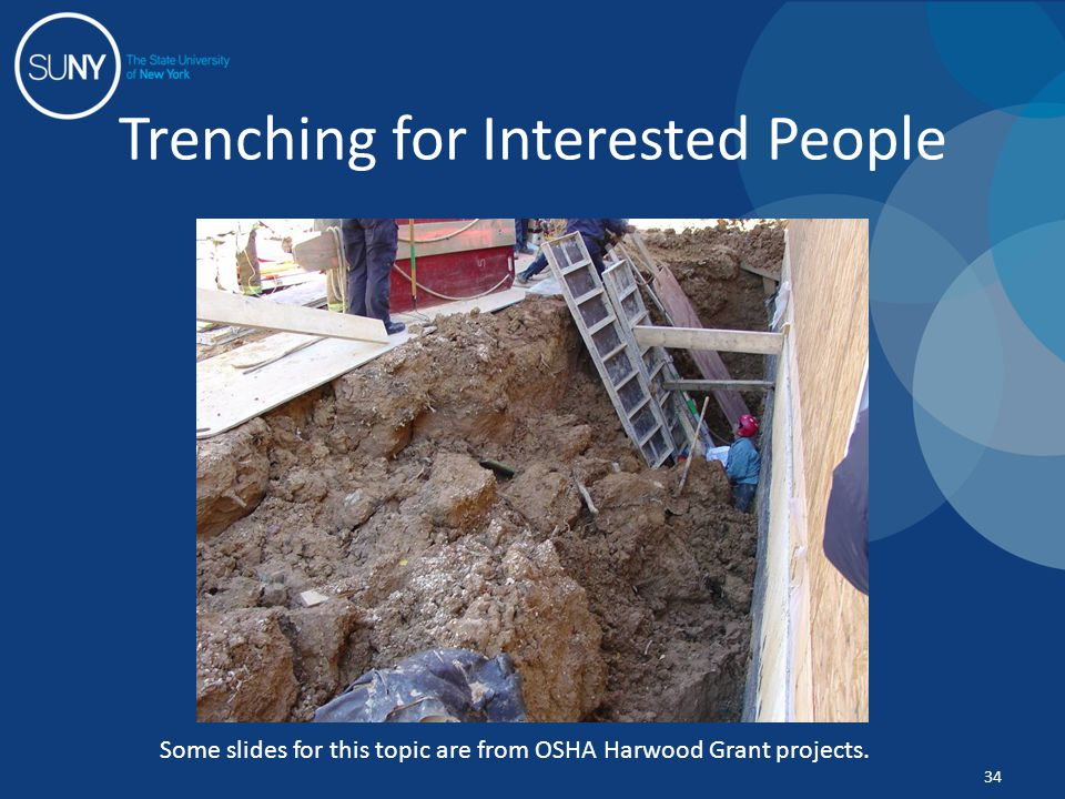 Trenching for Interested People 34 Some slides for this topic are from OSHA Harwood Grant projects.