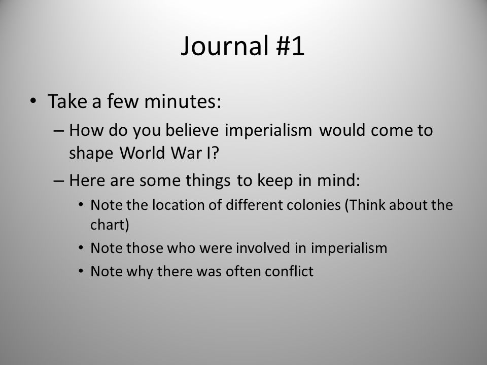 Connecting Past to Present The MAIN Reasons for the WWI Starting Define… M – Militarism A – Alliance System I – Industrialization/Imperialism N – Nationalism