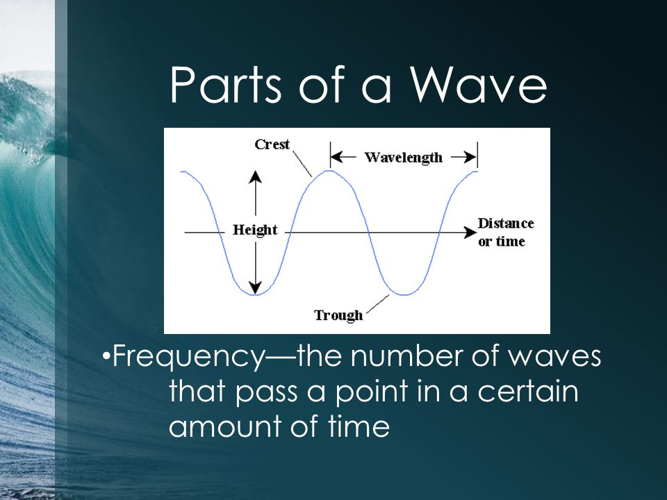 Parts of a Wave Frequency—the number of waves that pass a point in a certain amount of time
