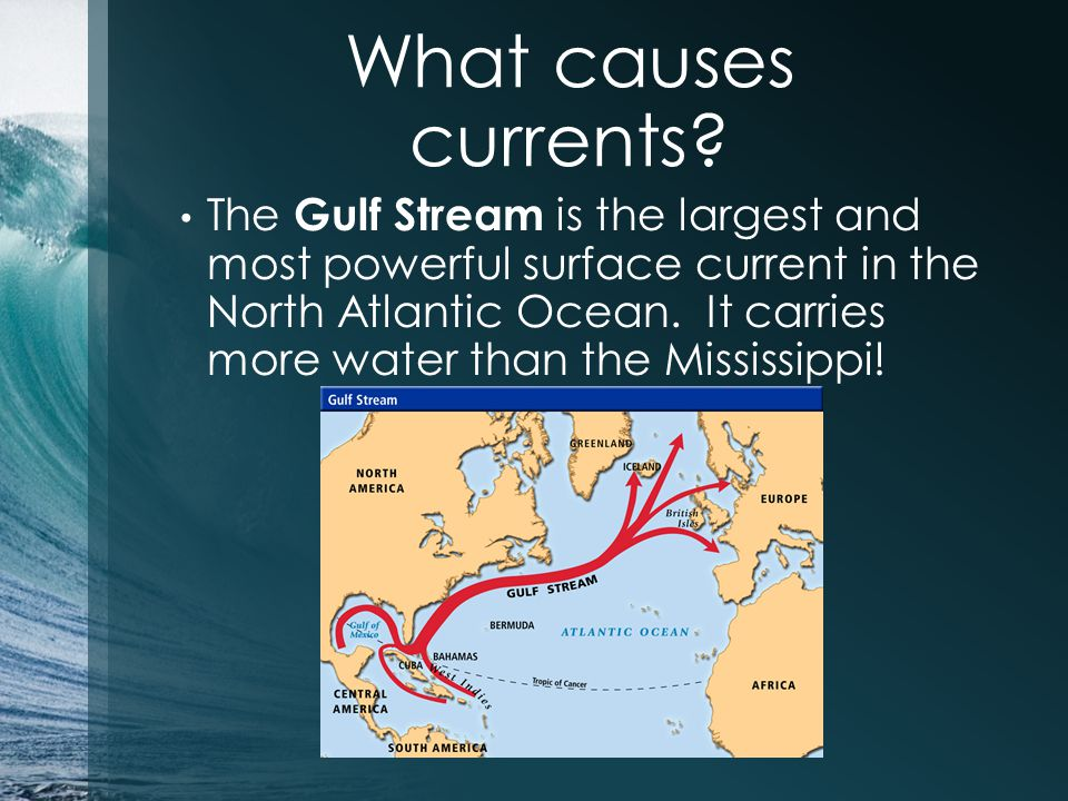 What causes currents? The Gulf Stream is the largest and most powerful surface current in the North Atlantic Ocean. It carries more water than the Mis