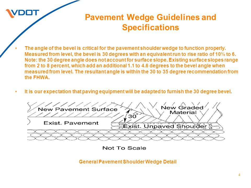 5 Pavement Wedge Guidelines and Specifications Prior to placing Asphalt Concrete Pavement Surface for overlay projects only, shoulder preparation may be required where the pavement shoulder wedge will be placed.