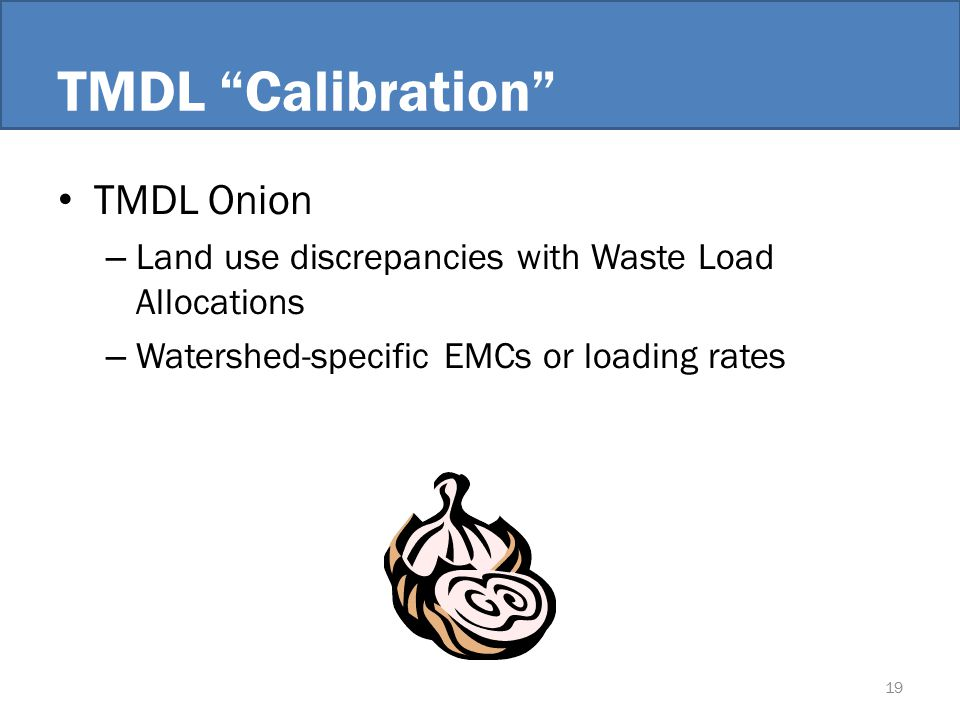 TMDL Calibration TMDL Onion – Land use discrepancies with Waste Load Allocations – Watershed-specific EMCs or loading rates 19