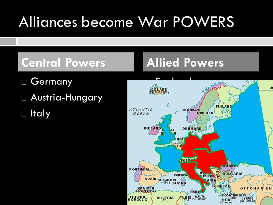 Alliances become War POWERS GGermany AAustria-Hungary IItaly EEngland FFrance RRussia Central PowersAllied Powers