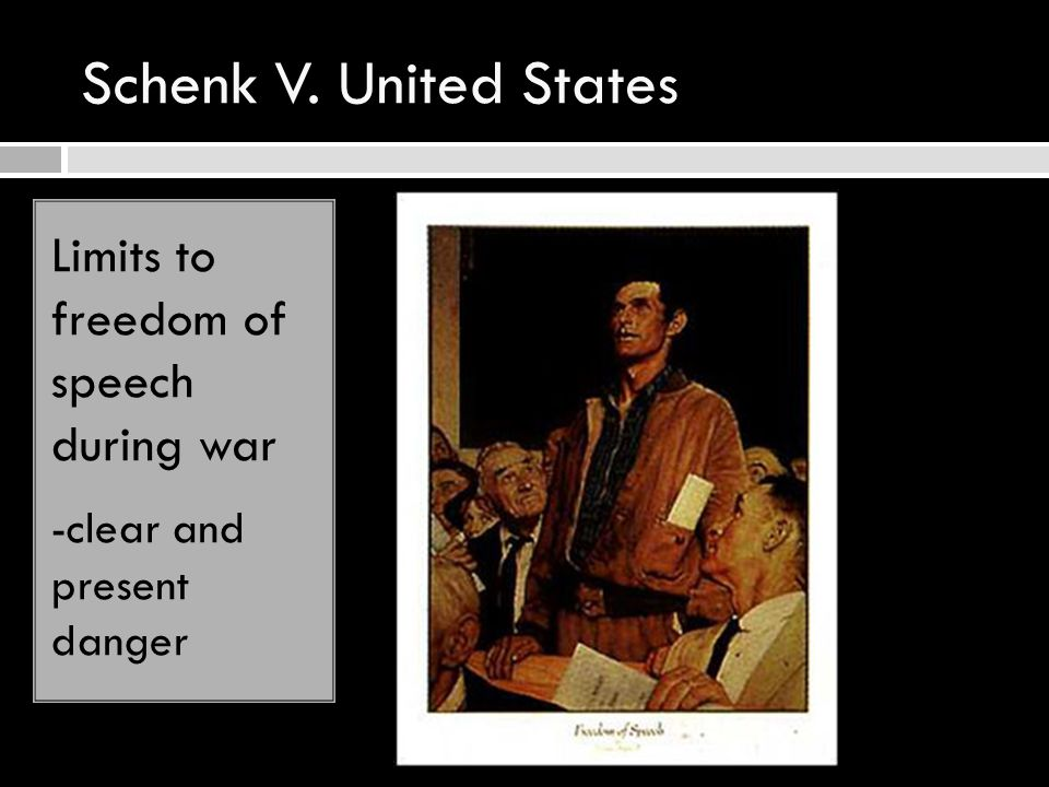 Schenk V. United States Limits to freedom of speech during war -clear and present danger