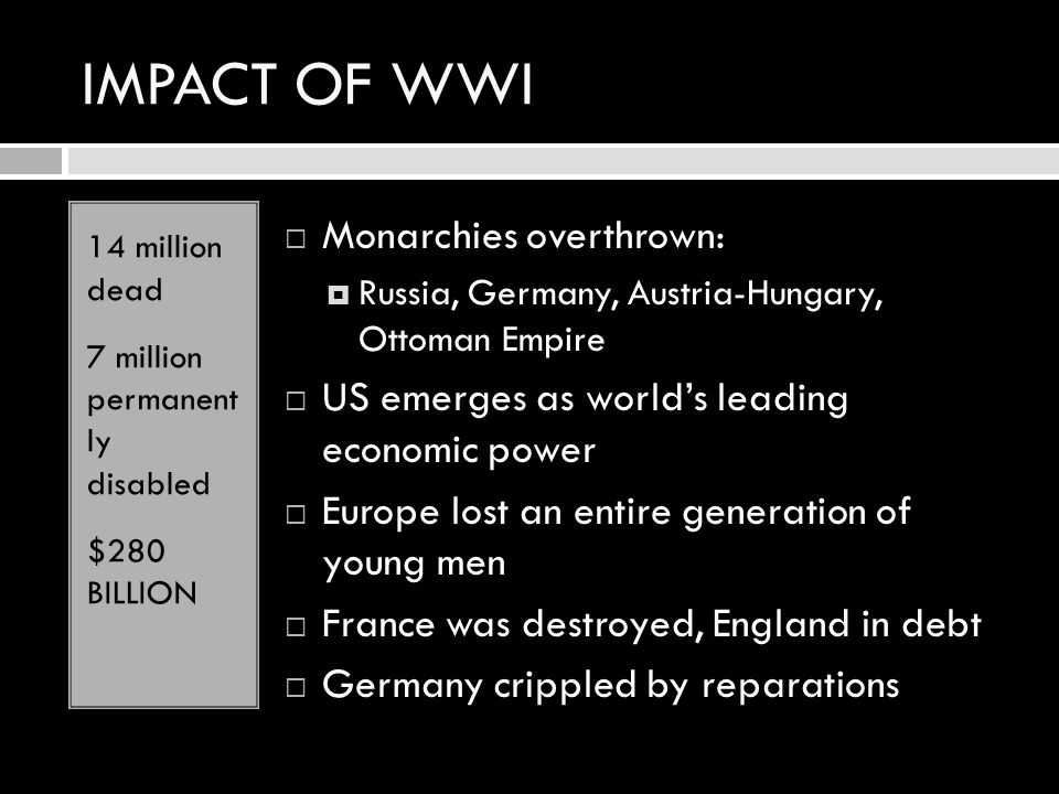 IMPACT OF WWI 14 million dead 7 million permanent ly disabled $280 BILLION MMonarchies overthrown: RRussia, Germany, Austria-Hungary, Ottoman Empi